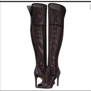 Thigh high open toe black boots with. Vince Camuto